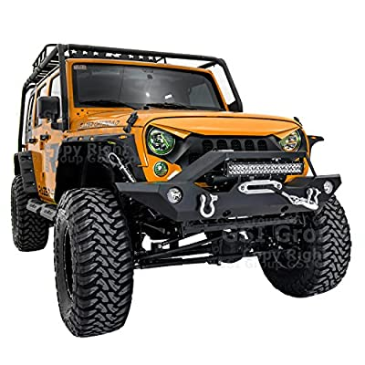 "GSI Black Textured Rock Crawler Front Bumper with OE Fog Light Hole, Built-In 21"" ~ 22"" LED Light bar mount, Winch Mount Plate for 07-18 Jeep Wrangler JK (Black)"
