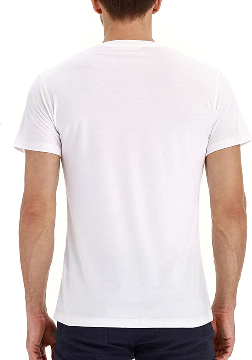 Mens Henley T-Shirts Short Sleeve Fit Cotton Shirts Casual Pullover Black Tees