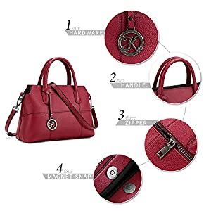 51QpMSDmH7L. SS300  - Kattee - Bolso de mano de piel auténtica para mujer, bolso cruzado de hombro, bolso de mano superior para mujer, bolso de diseñador