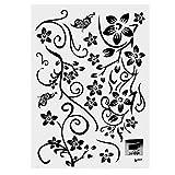 Pegatinas decorativas, Stickers Wall Art Decal, Negro flor autoadhesiva impermeable PVC baldosas pegatinas de pared extraíble DIY 3D calcomanía cocina cuarto de baño sala de estar
