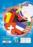 LANDRE 100050479 Vokabelheft 10er Pack A6 32 Blatt Vokabel Lineatur 53 - 2-spaltig