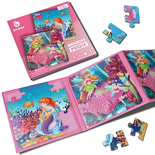 BST SHIER Magnetic Puzzles for Kids Ages 3 4 5 6, TWO-20 Piece Mermaid Wooden Jigsaw Puzzles Book for Toddlers, Travel Games and Travel Toys for 3 4 5 6 Year olds Boys and Girls
