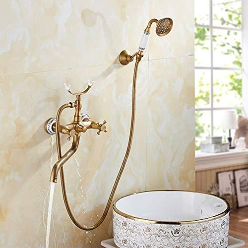 CY Cobre euro americano de bronce antiguo de cerámica simple juego de ducha ducha de mano sistema de teléfono Modelado agua caliente y fría Válvula de mezcla Booster boquilla del grifo 2 Función de br