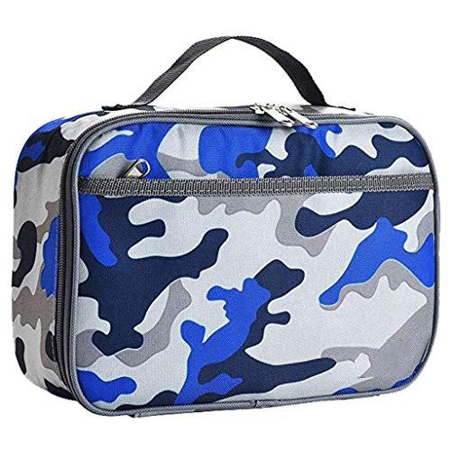 Isolierte Lunchpaket für Jungen,Camo Lunch Box für Kinder Auslaufsichere Kühltasche für das Mittagessen Picknick-Taschen Mahlzeit Prep Bag Kühltasche für Kinder Grundschule Wasserdicht-Blau Camouflage
