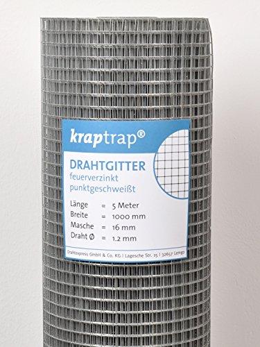 kraptrap® Volierendraht Drahtgitter 4-eck Schweißgitter16x16mm 100cm Breite 5m Länge