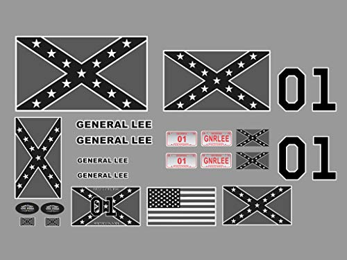 RC R/C car Truck Decal Sticker kit - Dukes of Hazzard - Black & White Version ONLY - 1/10 1/8 Scale
