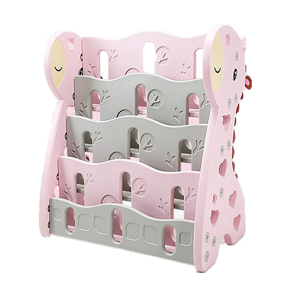縫うガジュマル適合キッズブックシェルフ プラスチックの小さい子供の本棚キッズ玩具ストレージは、頑丈で耐久性のある2色をラック 本棚玩具オーガナイザー (色 : ピンク)