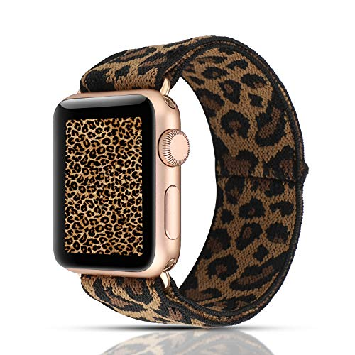 YOSWAN Scrunchie Elastic Watch Band Compatible with Apple Watch Band 38mm 40mm Women Girls Cloth Band Strap Bracelet for iwatch SE Series 6 5 4 3 2 1 (Brown MYD Nylon Dark Leopard, 38mm/40mm)