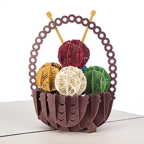 Breien mand Pop Up Card - Breien geschenken, Breien Verjaardagskaart voor moeder | 15 x 20 cm | Handgemaakte kaarten door Cardology
