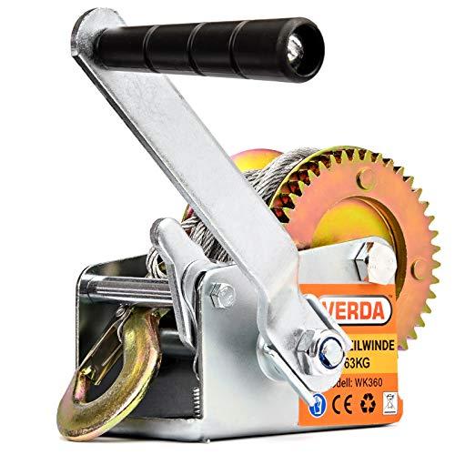 VERDA Winde Seilwinde Gurtwinde Handseilwinde Bootswinde Stahlseil/Textilband (Seilwinde 800lbs)