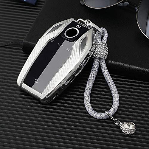 HEZHOUJI Autoschlüssel Hülle, Soft TPU Remote Autoschlüsseletui, vollständig abgedeckter Schutz, für BMW 7 Series 740 6 Series Gt 5 Series 530I X3 Display Key Shell,G-Silber Schlüsselbund
