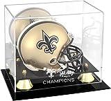 New Orleans Saints Super Bowl XLIV Champions Golden Classic Mini Helmet Logo Display Case - NFL Mini Helmets