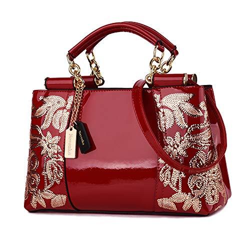 Nevenka Damen Kleine umhängetasche, Crossbody Bag aus PU Leder, Große Damen Schultertasche Handtasche mit Reißverschluss, Abendtasche für Party &Büro (Rot)