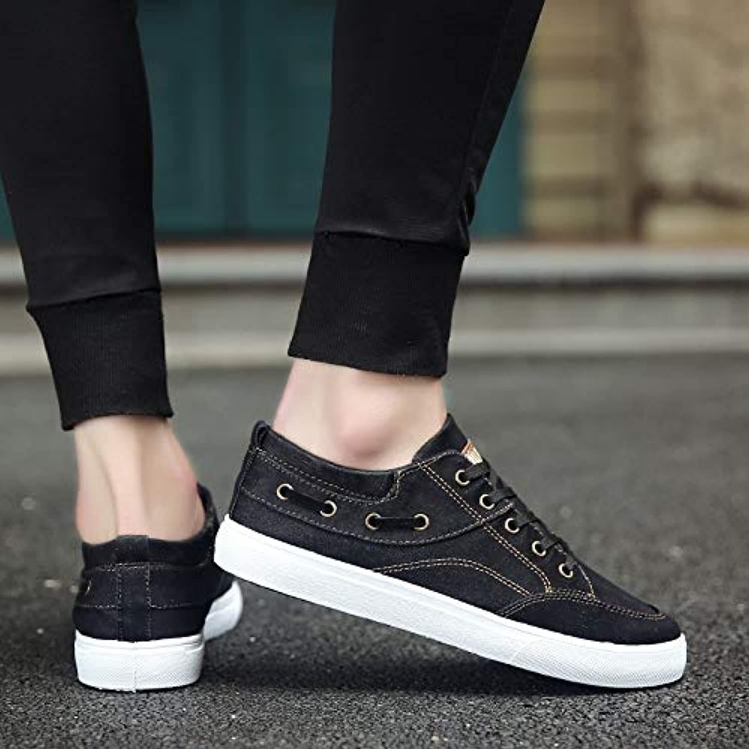 Anstorematealliance Outdoor&Sports shoes Fashion Trend Solid color Low-top Casual Canvas shoes (color Black Size 39)