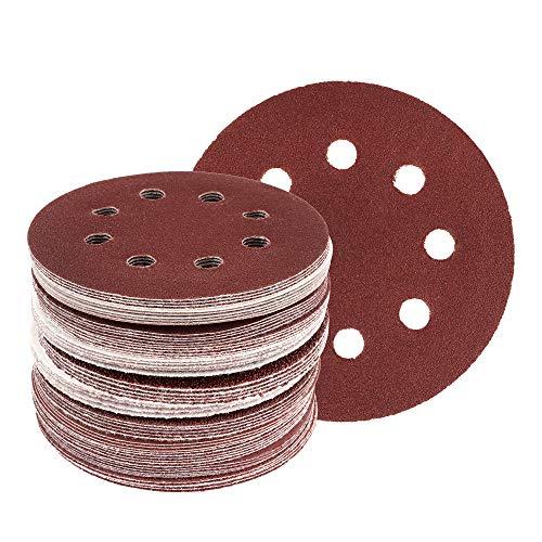 50 Blat Klett/Haft Schleifscheiben für Exzenterschleifer, Ø 125 mm – 8 Loch, Korn 120 / Schleifscheiben/Exzenterschleifpapier
