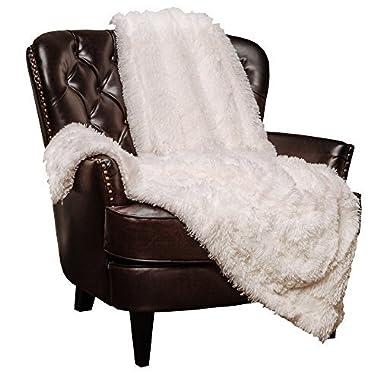 Chanasya Super Soft Long Shaggy Chic Fuzzy Fur Faux Fur Warm Elegant Cozy With Fluffy Sherpa Off White Microfiber Throw Blanket (50  x 65 ) - Solid Shaggy Off White