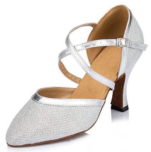 Honeystore Damen's Criss Cross Riemen Metallschnalle Tanzschuhe Silber