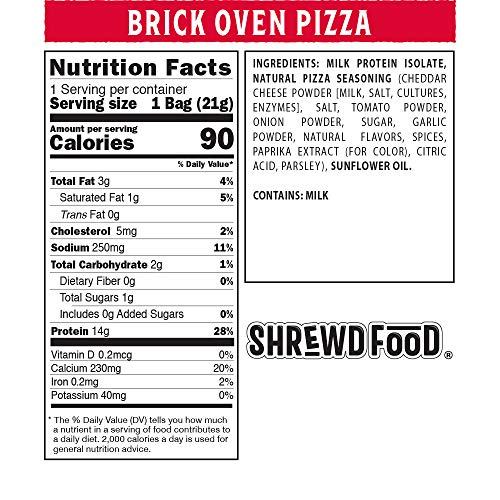 Shrewd Food Brickoven Pizza Protein Crisps   High Protein, Low Carb, Gluten Free Snacks   Real Cheese, No Artificial Flavors   Soy Free, Peanut Free (8-Pack of .74oz Bags)