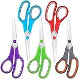 Scissors Bulk Set of 5-Pack, Niutop 8' Multipurpose Sharp Scissors for Office Home High/Middle School Student Teacher Scissor Supplies, Soft Comfort-Grip Right/Left Handles