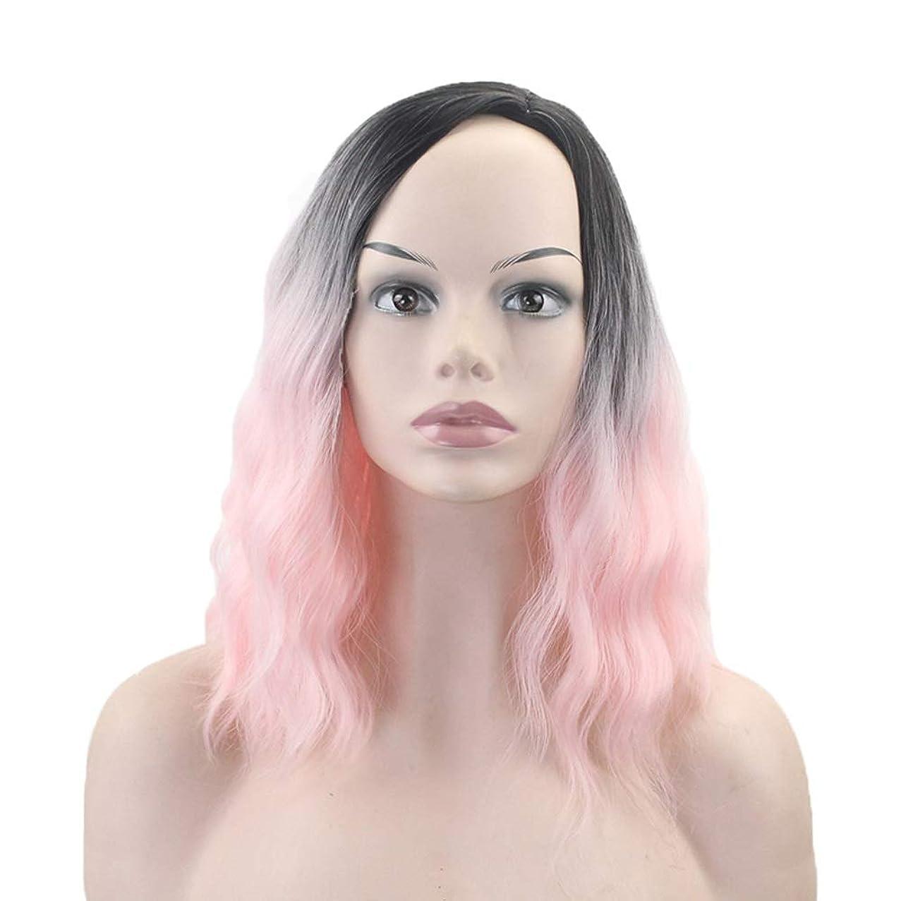 華氏強います与えるウィッグ - ファッションロングロール高温シルクウィッグナチュラルリアルパーティーハロウィーンコスプレ40cmグラデーション (色 : Pink, サイズ さいず : 40cm)