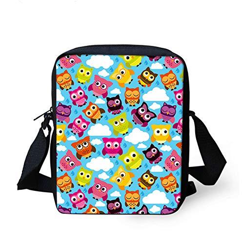 NUANDI 3D-Druck Eule Schüler Handtasche Kinder Umhängetasche Schultertasche Rucksack Kinder Kleine Tasche Jugend Tasche