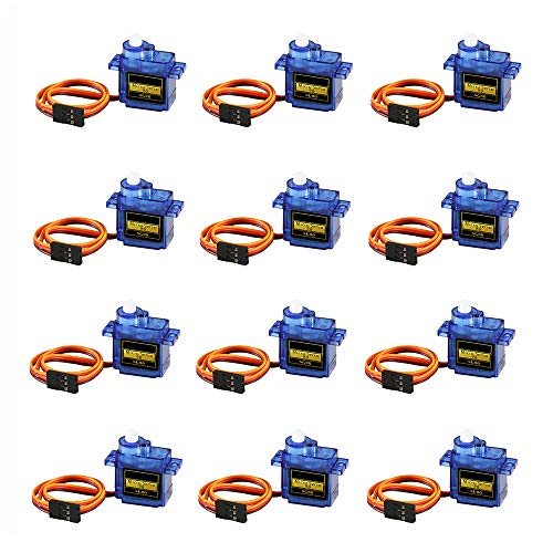12PCS SG90 Micro Servo Motor, Dorhea Mini Servo SG90 9g Servo Kit for RC Helicopter Airplane Car Boat Robot Arm/Hand/Walking/Servo Door Lock Control with Dupont Cable Compatible with Ardu ino