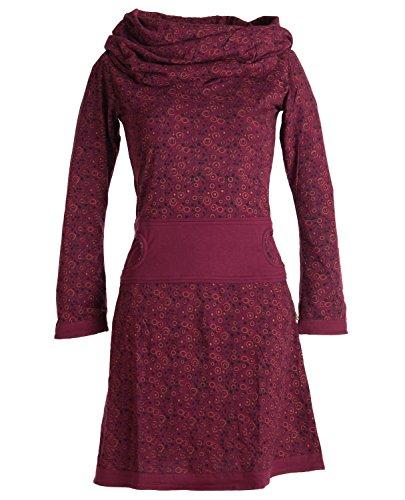 Vishes - Alternative Bekleidung - Bedrucktes Kleid aus Baumwolle mit Schalkragen dunkelrot 38