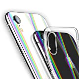 ANOLE Compatible for iPhone XR Case, Ultra-Thin Clear Soft TPU Protective Cover + [Aurora Laser Psychedelic Holographic Rainbow Phone Back Screen Protector]