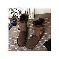 [Workings] 靴冬の防水シープスキンレザー毛皮の女性の雪のブーツ、チョコレート、37