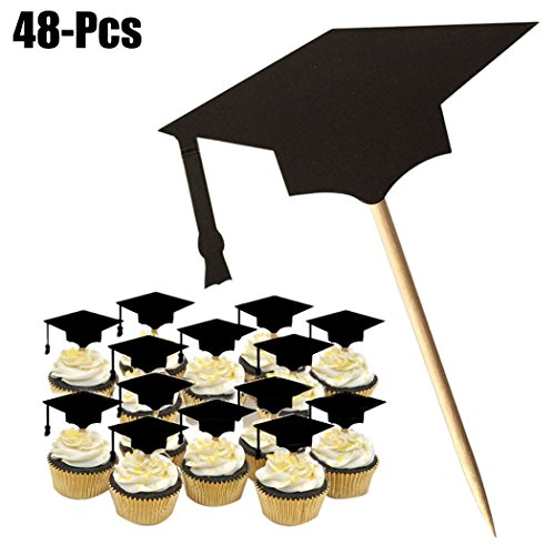FunPa Cake Topper, 48 stuks, graduatie voor cake, cupcakes, toppers, tips, taartopzetstukken, graduatie
