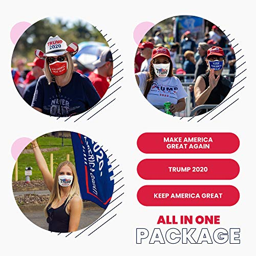 Trump Face Mask 3-PACK | Safety Reusable & Washable Anti Dust Mouth Fashion Balaclava Cover | Breathable Bandanna with Carbon Filter Slot | MAGA KAG TRUMP 2020 | Men Women BEWARE OF COUNTERFEIT SELLERS