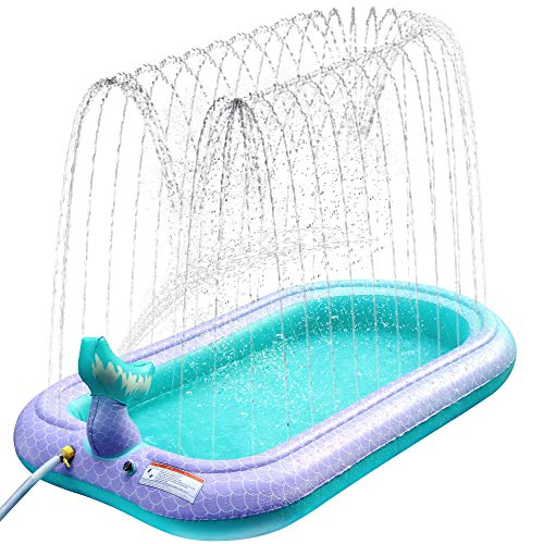 Ancesfun Sprinkler Pad, Splash Play Pool Pad Water Toys for Kids Outdoor Family Party Summer Garden Inflatable Spray Paddling Mat for over 3 Years Boys Girls Dog, 67'/170cm