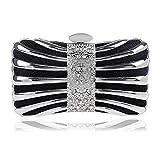 LBY - Bolsa de cena para mujer, de metal, cuadrada, vestido de noche, para banquetes, maquillaje, bolsa de almacenamiento, poliéster, negro, 17x10x5.5cm