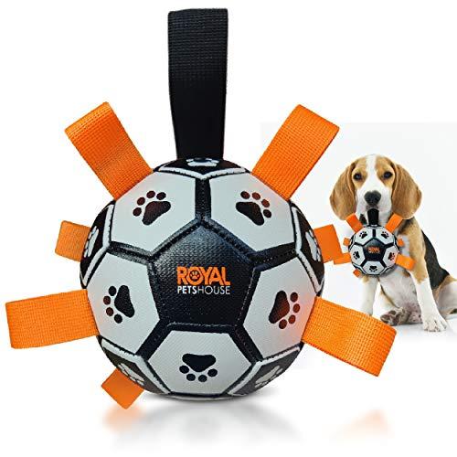 Balón de fútbol flotante para perros Royal Pets House con correas para un fácil agarre | Juguete interactivo ideal para juegos acuáticos | Interior y exterior | MEJOR juguete para mascotas en 2021