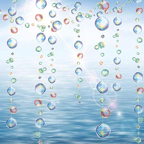 Decor365 Rainbow Transparent Bubble Garlands for Party Decorations Colorful Hanging Floating Bubbles Cutout Streamer Background for Mermaid Under The Sea Birthday Pool Home Baby Shower Decor