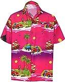 LA LEELA Men's 3D HD Scenic Car Button Down Short Sleeve Hawaiian Shirt XL Pink_AA369