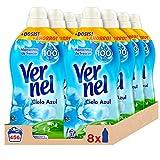 Vernel Suavizante Ropa Cielo Azul, 57 Dosis - Total 456 Lavados (10.4 L), Pack de 8