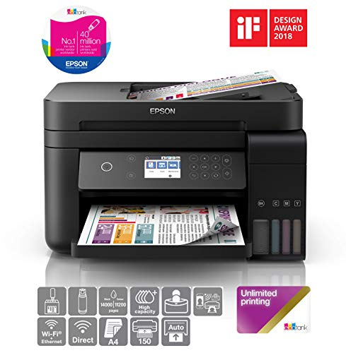 Epson EcoTank ET-3750B A4 Print/Scan/Copy Wi-Fi Printer, Black + 2 Years Unlimited Printing Card