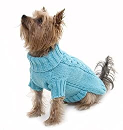 Puchi Turquoise Blue knitted Cable Dog Jumper - Medium