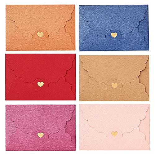 Globaldream Mini Briefumschläge, 36 Stück Mini Umschläge Geschenkkarte Umschlag für Weihnachten Valentinstag Geschenk Süße Umschlag für DIY Hochzeit Geburtstagsfeier -B