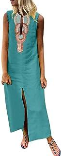 Vestido de verano para mujer, estilo bohemio, tallas S-5XL, casual, cuello en V, estilo vintage, étnico, floral, suelto, m...