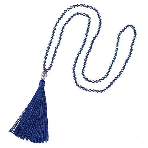 KELITCH Collier à Pampilles pour Femmes en Cristal Perles Fait à la Main tête de Bouddha en Argent Pendentif