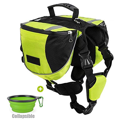 Lifeunion Polyester Dog Saddlebags Pack Hound Travel Camping Hiking Backpack Saddle Bag for Small Medium Large Dogs with Collapsible Pet Food Bowl (L, Neon Green+Bowl)