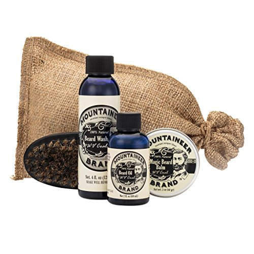 Beard Grooming Care Kit for Men by Mountaineer Brand | Beard Oil (2oz), Conditioning Balm (2oz), Wash (4oz), Brush (WV Coal)