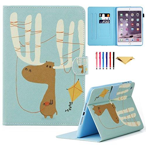 iPad Mini Case, Mini 4 Mini 2/3 Case Cover, MonsDirect Smart Kickstand PU Leather Case Flip Wallet Protective Cover Compatible with Apple iPad Mini 1 2 3 4, Adorable Deer
