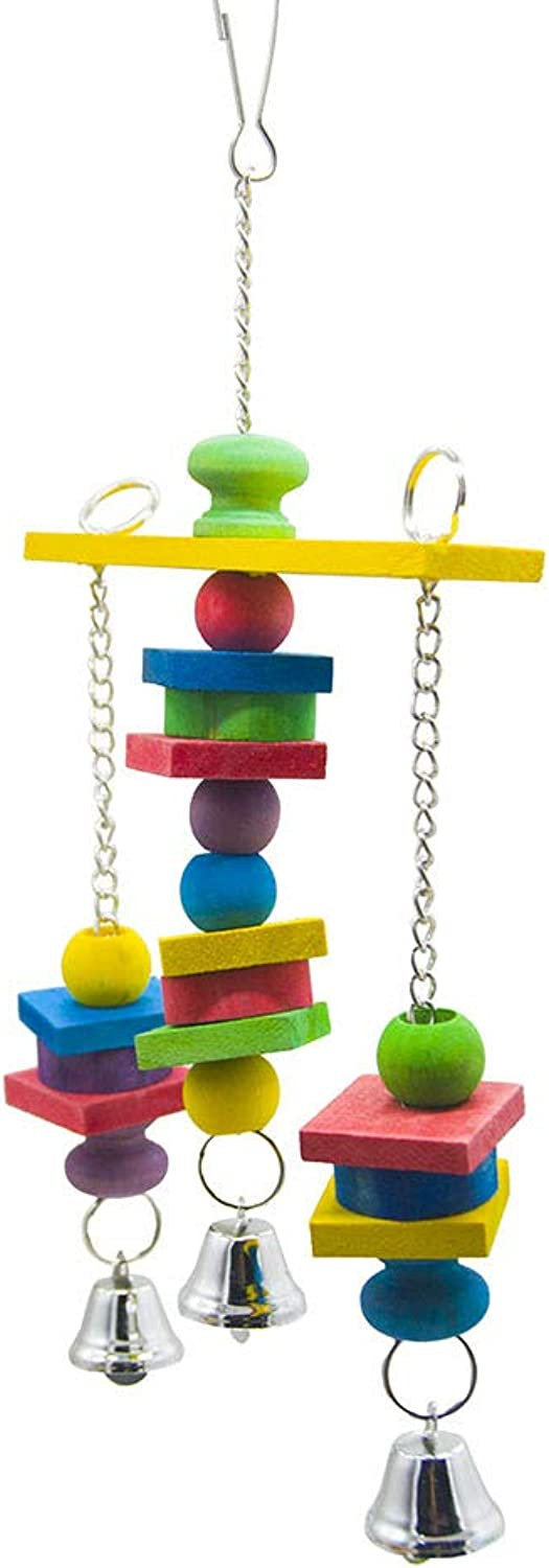 Pet Online Birdcage Accessories colorful Beads Wood Bells Hanging String Parred Bird Toys