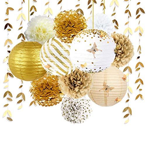 White and Gold Party Decoration Kit Lanterns Flowers Pom Pom with Gold 3D Butterfly Stickers and Leaf Garland Streamers for Birthday Engagement Wedding Bridal Shower Bachelorette Party Decor Supplies