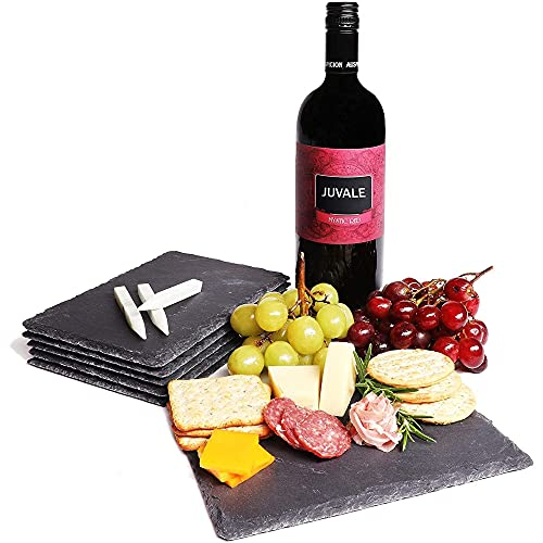 6 Pieces Slate Cheese Board, Charcuterie Boards (6 x 0.1 x 8.75 In)