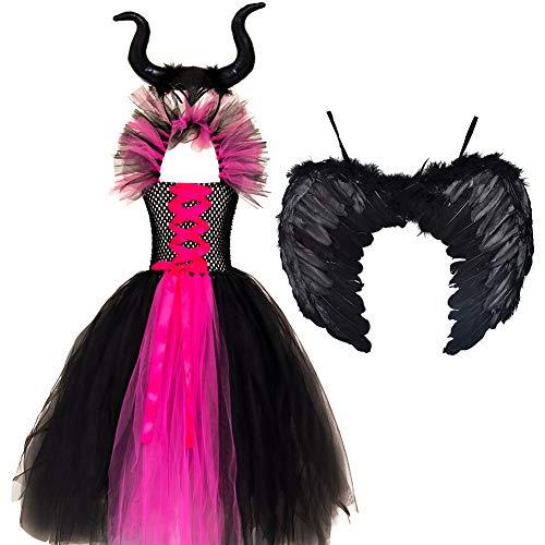 Maleficent, costume da strega maleficente, per bambini, per cosplay, Halloween, carnevale, con ali di corno e ali di tulle 04-rosa caldo. 10-12 anni