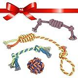 Juguetes de Cuerda para Cachorros, Perros Pequeños y Grandes (x 4)   Accessorios de Algodón Trenzado Robusto para Perro   Para Juego y Dentición   Pelotas, Hueso, Cuerdas para Tironear y Morder